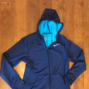 Nike Dri fit Jacket. Blue with teal inside